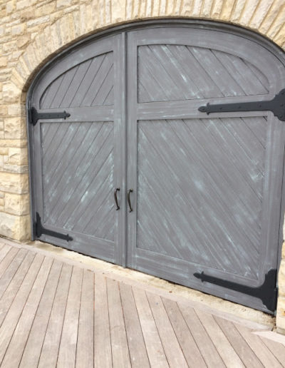 Boathouse Doors with Strap Hinges and Inset Service Door
